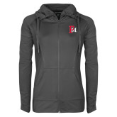 Ladies Sport Wick Stretch Full Zip Charcoal Jacket-Interlocking FM