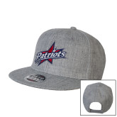 Heather Grey Wool Blend Flat Bill Snapback Hat-Patriots Star