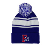 Royal/White Two Tone Knit Pom Beanie with Cuff-Interlocking FM