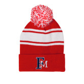 Red/White Two Tone Knit Pom Beanie with Cuff-Interlocking FM