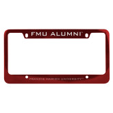 Alumni Metal Red License Plate Frame-FMU Alumni Engraved