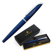 Cross ATX Blue Lacquer Rollerball Pen-Flat Engraved