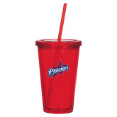 Madison Double Wall Red Tumbler w/Straw 16oz-Patriots Star