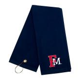 Navy Golf Towel-Interlocking FM