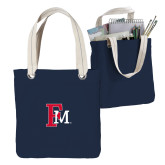 Allie Navy Canvas Tote-Interlocking FM