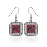Crystal Studded Square Pendant Silver Dangle Earrings-Athletic FP