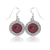 Crystal Studded Round Pendant Silver Dangle Earrings-Athletic FP