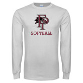 White Long Sleeve T Shirt-Softball