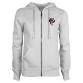 ENZA Ladies White Fleece Full Zip Hoodie-Athletic FP