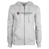 ENZA Ladies White Fleece Full Zip Hoodie-FP Athletics Horizontal