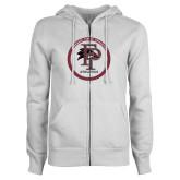 ENZA Ladies White Fleece Full Zip Hoodie-FP Athletics Circle