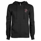 ENZA Ladies Black Fleece Full Zip Hoodie-Athletic FP