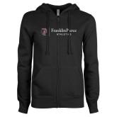 ENZA Ladies Black Fleece Full Zip Hoodie-FP Athletics Horizontal