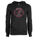ENZA Ladies Black Fleece Full Zip Hoodie-FP Athletics Circle