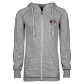 ENZA Ladies Grey/Black Marled Full Zip Hoodie-Athletic FP