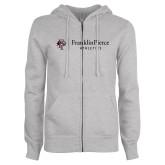 ENZA Ladies Grey Fleece Full Zip Hoodie-FP Athletics Horizontal