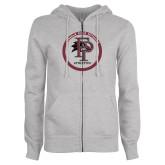 ENZA Ladies Grey Fleece Full Zip Hoodie-FP Athletics Circle