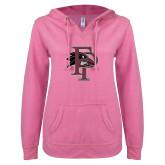 ENZA Ladies Hot Pink V Notch Raw Edge Fleece Hoodie-Athletic FP