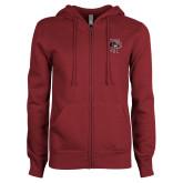 ENZA Ladies Maroon Fleece Full Zip Hoodie-Athletic FP