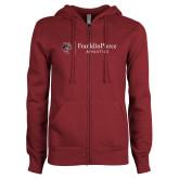 ENZA Ladies Maroon Fleece Full Zip Hoodie-FP Athletics Horizontal