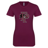 Next Level Ladies SoftStyle Junior Fitted Maroon Tee-Athletic FP