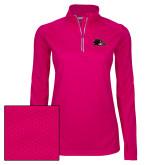 Ladies Pink Raspberry Sport Wick 1/4 Zip Pullover-Raven Head