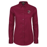 Ladies Maroon Twill Button Down Long Sleeve-Athletic FP