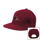 Maroon Flat Bill Snapback Hat-Raven Head