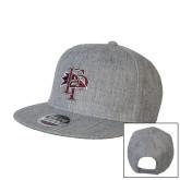 Heather Grey Wool Blend Flat Bill Snapback Hat-Athletic FP
