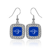 Crystal Studded Square Pendant Silver Dangle Earrings-Diplomats Official Logo