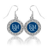 Crystal Studded Round Pendant Silver Dangle Earrings-F&M