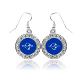 Crystal Studded Round Pendant Silver Dangle Earrings-Diplomats Official Logo