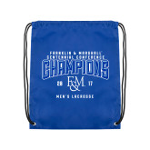 Nylon Royal Drawstring Backpack-2017 Centennial Conference Champions Mens Lacrosse