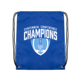 Royal Drawstring Backpack-2017 Football Champions Stacked w/ Football Vertical