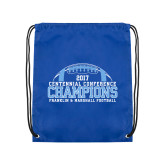 Royal Drawstring Backpack-2017 Football Champions Stacked w/ Football