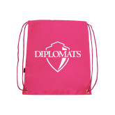 Nylon Pink Drawstring Backpack-Diplomats Official Logo