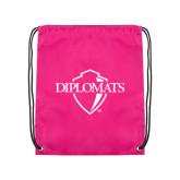 Pink Drawstring Backpack-Diplomats Official Logo