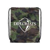 Nylon Camo Drawstring Backpack-Diplomats Official Logo