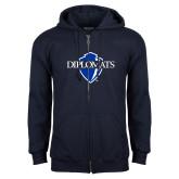 Navy Fleece Full Zip Hoodie-Diplomats Official Logo