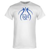 White T Shirt-Basketball Logo In Ball