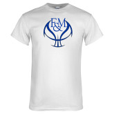 White T Shirt-Basketball Logo On Ball