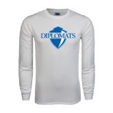 White Long Sleeve T Shirt-Diplomats Official Logo