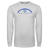 White Long Sleeve T Shirt-Flat Football Design