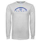 White Long Sleeve T Shirt-Flat Football Design