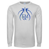 White Long Sleeve T Shirt-Basketball Logo In Ball