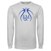 White Long Sleeve T Shirt-Basketball Logo In Ball