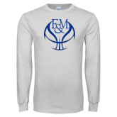White Long Sleeve T Shirt-Basketball Logo On Ball