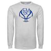White Long Sleeve T Shirt-Basketball Logo On Ball