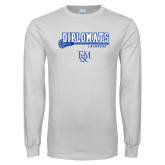 White Long Sleeve T Shirt-Diplomats Lacrosse Stick