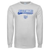 White Long Sleeve T Shirt-Diplomats Lacrosse Stick